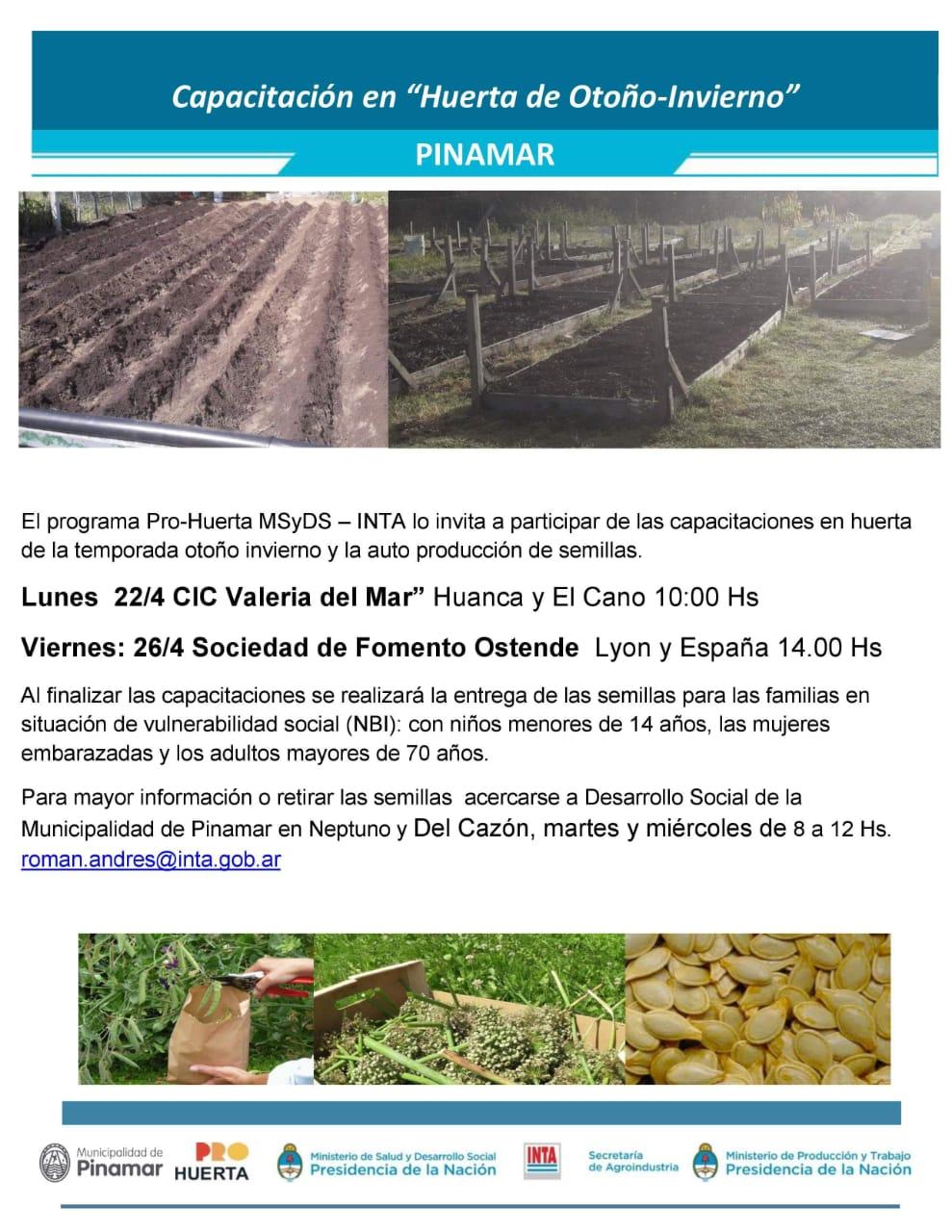 Capacitación y entrega de semillas por parte de INTA – Andrés Roman