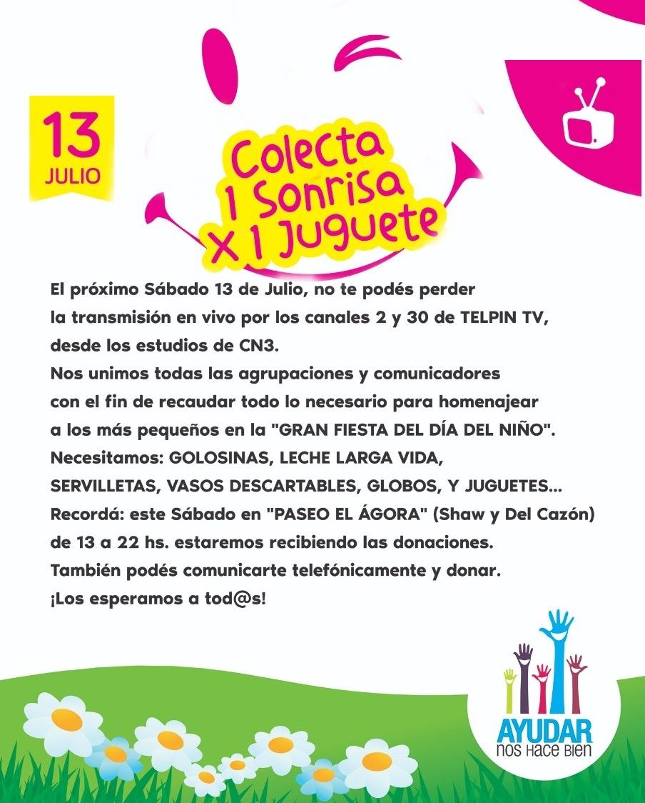 """13 de julio – Colecta para el día del Niño / """"Para que se acuerden en el mañana de estos eventos"""""""