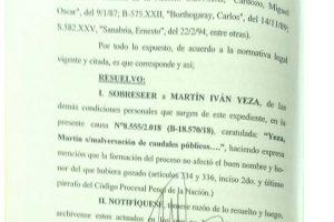 Martín Yeza sobreseído – Postura de Estanga
